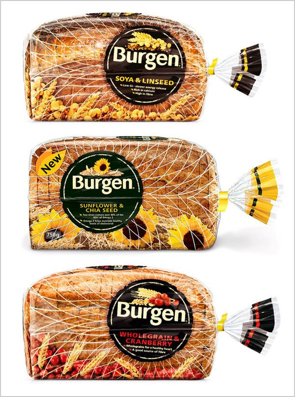 Hovis | Burgen | Arnold | Bread packing designs, attractive bread pouch pp packing designs