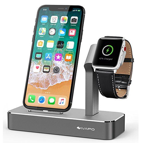 cool 2 in 1 Aluminio Soporte para iPhone y Apple Watch, iVAPO Soporte para Apple Watch Series 3 / Apple Watch Series 1 / Apple Watch Series 2 / Apple Watch Nike + / iPhone 8 / iPhone 8 Plus / iPhone X / iPhone 7 / iPhone 7 Plus / iPhone 6S Plus / iPhone 5S / iPhone 6 / iPhone 6 Plus / iPhone SE