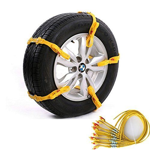 Grikey 10Pcs Adjustable Car Tire Snow Chains Emergency Anti Slip Chain Fit for…