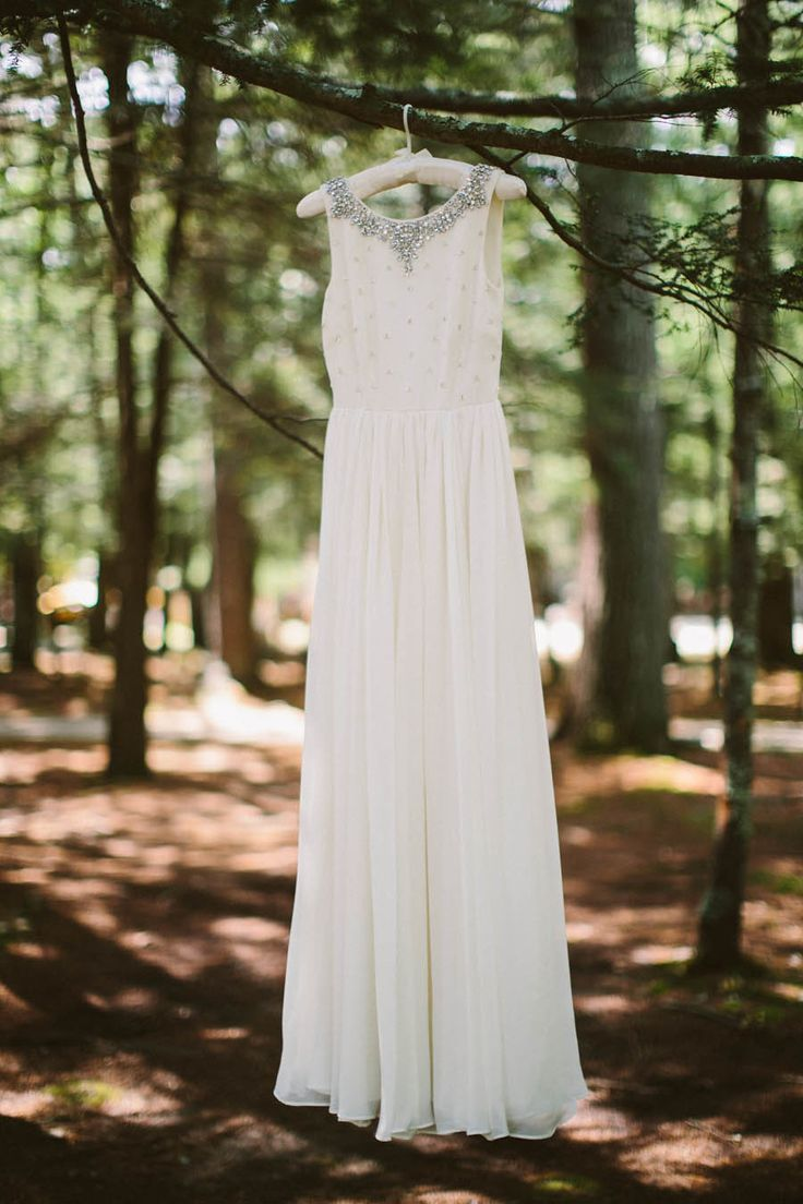 J. Crew Wedding Dress | Whimsical Campground Wedding | On SMP: http://www.StyleMePretty.com/rhode-island-weddings/2014/02/07/whimsical-campground-wedding/ Zac Wolf Photography