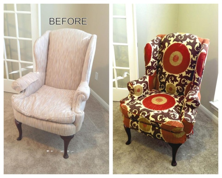Wonderful Patterned Wingback Slipcover In Duralee Fabric. No Skirt, Welting Detail.    LS Slipcovers