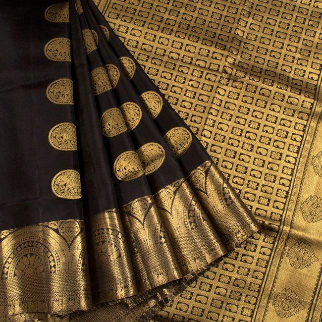 Handwoven Black South Silk Saree With Elephant Motifs 10018598 - AVISHYA.COM