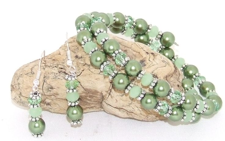 Sage Green Crystal, Pearl and Pewter Bracelet and Earring Set.  $30