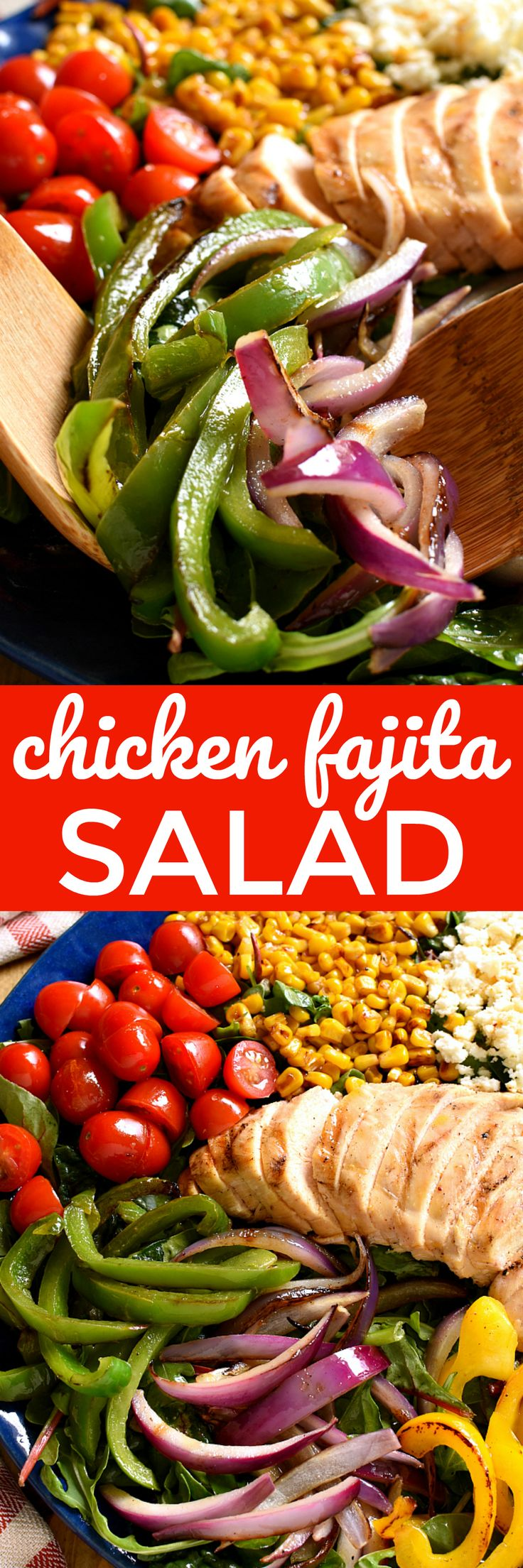 If you love Chicken Fajitas, you'll LOVE this Chicken Fajita Salad! Loaded with grilled peppers, onions, chicken, corn, tomatoes, avocado, and queso fresco....this salad has ALL the best flavors, and  (Chicken Fajitas)