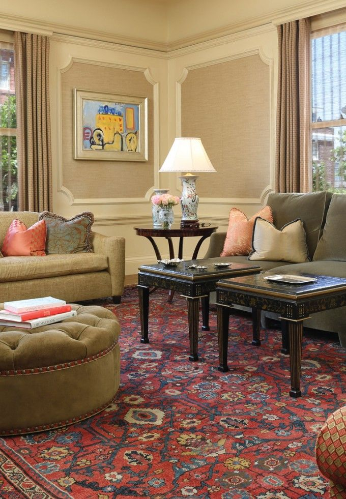 19th Century Drawing Room: 19th Century Sultanabd Rug Adds Depth & Warmth To Charming