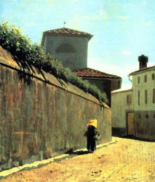 Giuseppe Abbati, Stradina al sole. Splendida la resa della luce del pittore macchiaiolo.