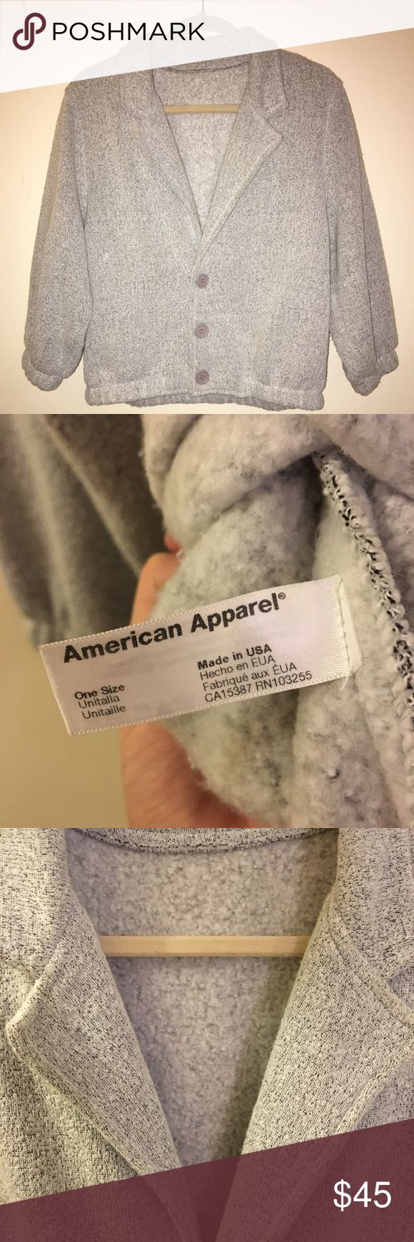American Apparel fleece-lined jacket (gray) American Apparel fleece-lined jacket with cropped elastic sleeves. SPECS: gray; one-size. This jacket has been worn only a few times and is in mint condition. No longer sold in stores/online. Happy to provide measurements upon request. American Apparel Jackets & Coats