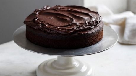 Helen Goh's famous chocolate cake topped with ganache.