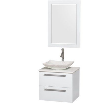 Wyndham Collection Amare 24 inch Single Bathroom Vanity in Glossy White, White Man-Made Stone Countertop, Arista White Carrera Marble Sink, and 24 inch Mirror