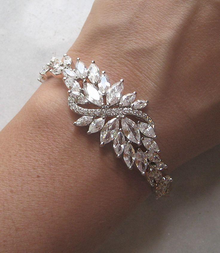 Swarovski+Rhinestone+Bracelet+Crystal+Wedding+by+TheRedMagnolia,+$78.00