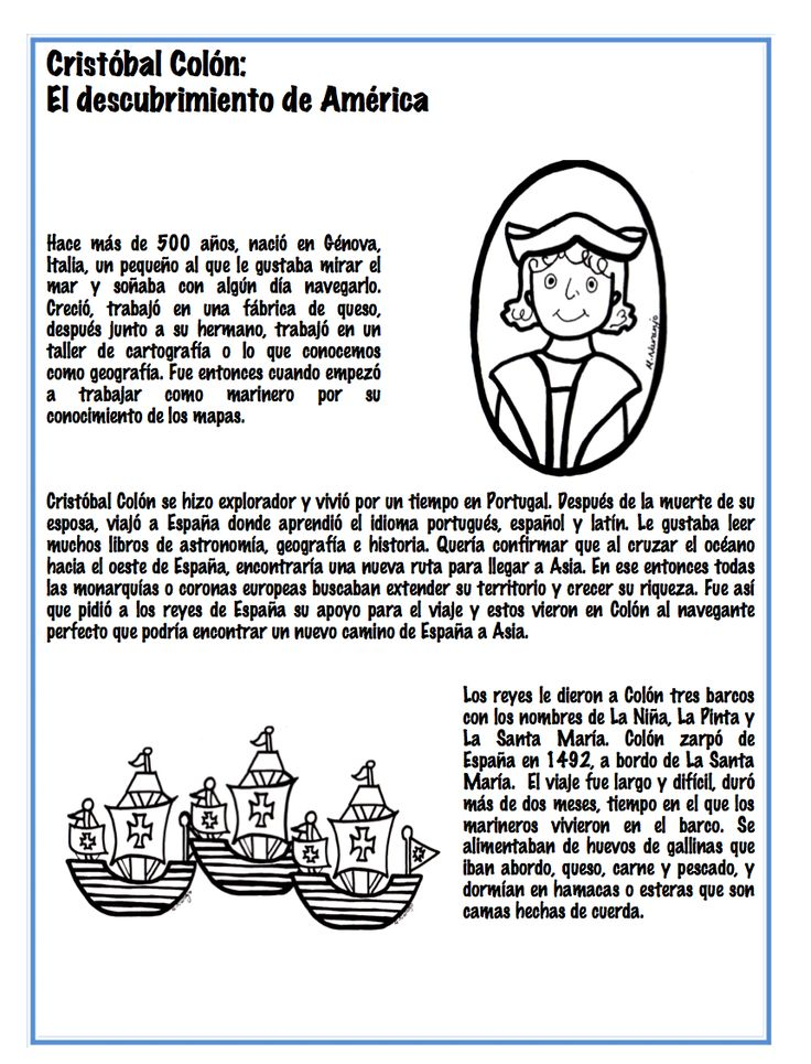 Christopher Columbus's trip to America. Spanish lesson. (Cristobal Colon: El Descubrimiento de America) http://www.teacherspayteachers.com/Store/Monica-Naranjo
