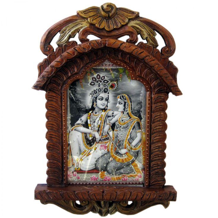 Radha Krishna Photo Frame Wooden Jharokha Gift 136