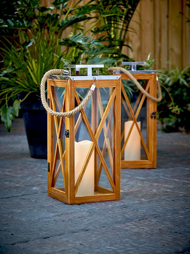 Wooden Lanterns are great for the patio.