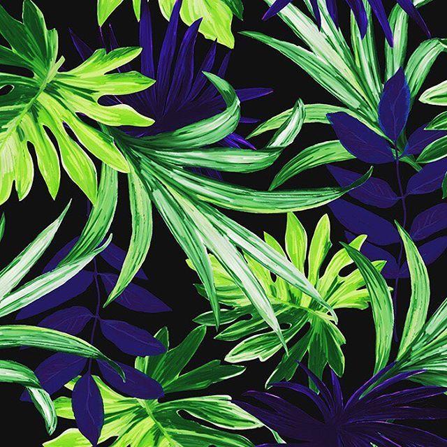Dark Jungle Midnight #printandpattern #patternbank #fashiondesigner #freelancer #cooperation #collaboration #swimwear #beach #summervibes #print #yellow #inkbrush #wearepremierevision #premierevision IG: @josephinewalz