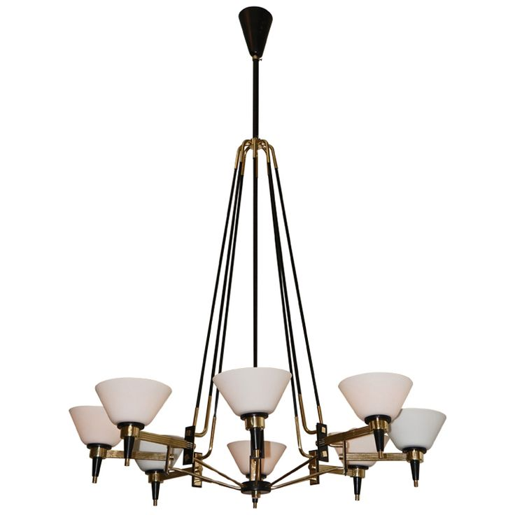 View This Item And Discover Similar Chandeliers And Pendants For Sale At    Elegant Italian, Elongated Brass Chandelier. Some Parts Have Been Painted  Black ...