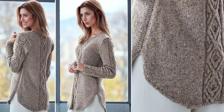 Вязаный спицами пуловер с косами Oydis с описанием от дизайнера Linda Marveng. Вязание спицами для женщин пуловера с косами и закруглённым низом с описанием от дизайнера.