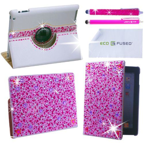 iPad Case - Rotating Faux Leather Bling Case Compatible with Apple iPad 4, iPad 3, iPad 2 - also includes 1 Bling Stylus Pen / 1 Long Stylus Pen / 1 ECO-FUSED® Microfiber Cleaning Cloth - Cute Rhinestone Cover Perfect for Girls (pink) ECO-FUSED®,http://www.amazon.com/dp/B0090OLPEC/ref=cm_sw_r_pi_dp_FCk4sb1A0KRV4EQV