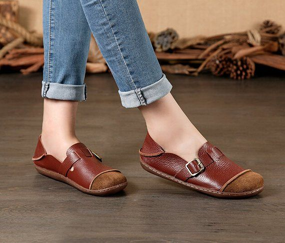 3519a5021dcb4 Large Size Handmade Women Shoes,Oxford Shoes, Flat Shoes, Retro ...