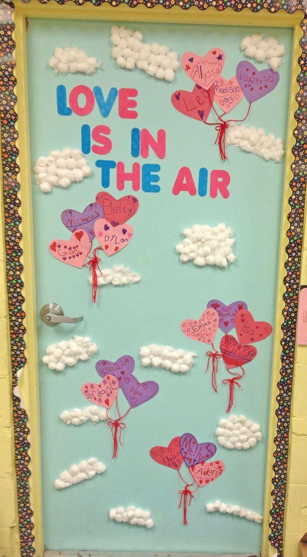 Love is in the Air Classroom Door - Featured in 27 Valentine's Day Classroom Door Decorating Ideas {OneCreativeMommy.com}