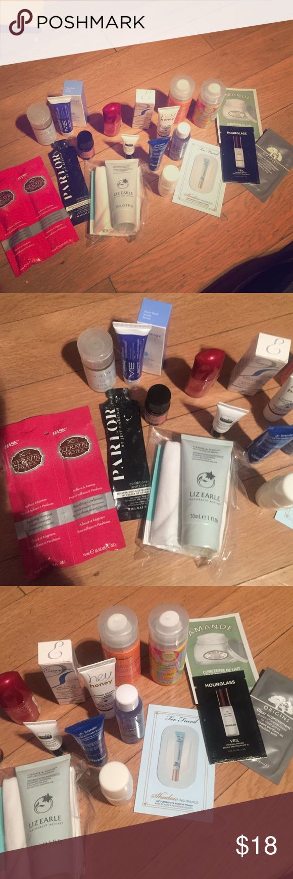 Great lot of beauty goodies - Sephora ipsy ❤️ Great lot ! includes Liz Earle cleanse & polish - hawk shampoo and conditioner packet - parlor conditioner packet - tatcha pure cleansing oil - Eva nyc hair serum - Eva nyc dry cond -Amika dry shmpo- key west aloe cleanser - dermelect moisturizer- Laniege water bank serum - klorane eye makeup remover - hey honey facial scrub - dr Brandt pore dermabrasion- air repair eye cream - embryolisse creme - shiseido concentrate- too faced shadow ins…