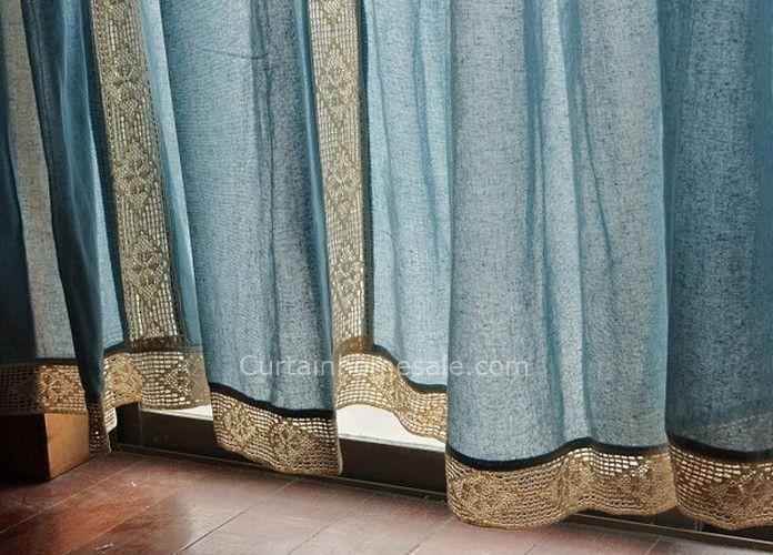 Eco-friendly Big Window Cotton Burlap Curtains of Mediterranean Style