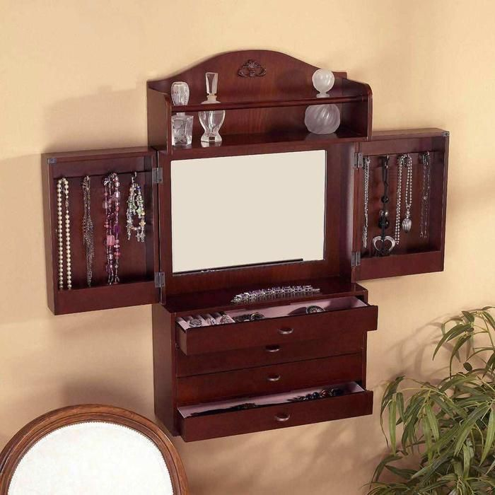 sei cherry wallmount jewelry armoire eliminate wasted wall space and convert it to useful with this tra - Stand Up Jewelry Box