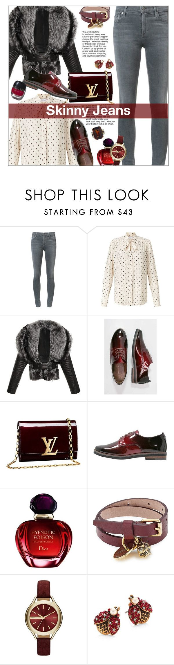 """Skinny Jeans"" by ceci-alva ❤ liked on Polyvore featuring Citizens of Humanity, John Lewis, J. Mendel, Marco Tozzi, Louis Vuitton, Christian Dior, Alexander McQueen, Armani Exchange, Marc Jacobs and Garance Doré"
