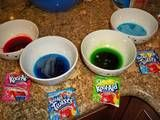 koolaid-bowls- use to dye tips of hair... mix with conditioner.  . Put on your latex gloves (remember Kool-Aid stains everything!)