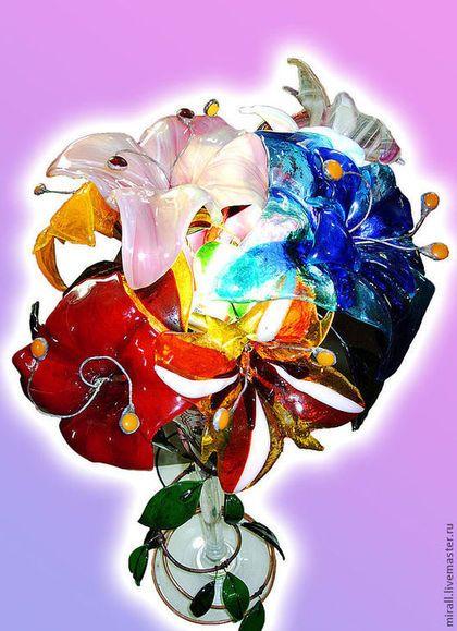 """Светильник """"Стеклянные цветы"""" - цветы,цветы из стекла,ваза для цветов"""