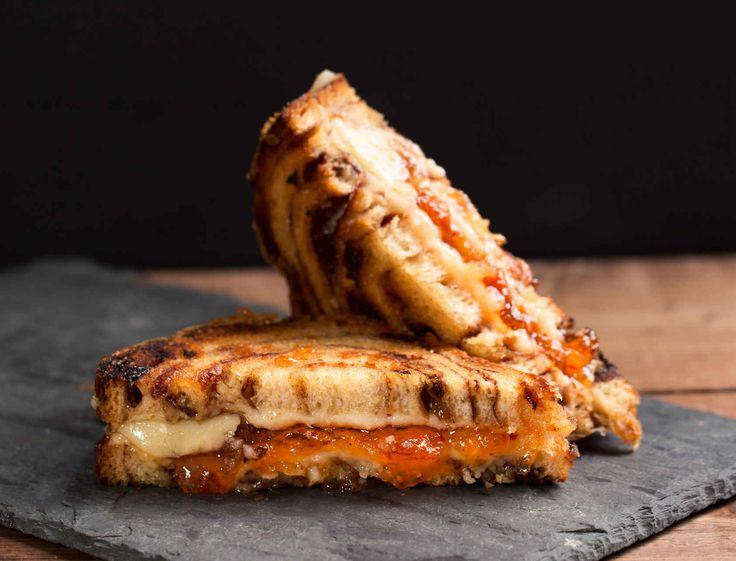 Grilled Jam & Cheese: cinnamon raisin bread (or preferred bread), apricot or seedless blackberry preserves or pepper jelly, mozzarella or cream cheese