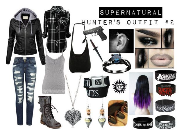 """Supernatural: Hunter's Outfit #2"" by wretchedanddivine22 ❤ liked on Polyvore featuring Current/Elliott, Rails, maurices, Disney, Nature Breeze, Böker, Bling Jewelry, Finn, outfit and supernatural"