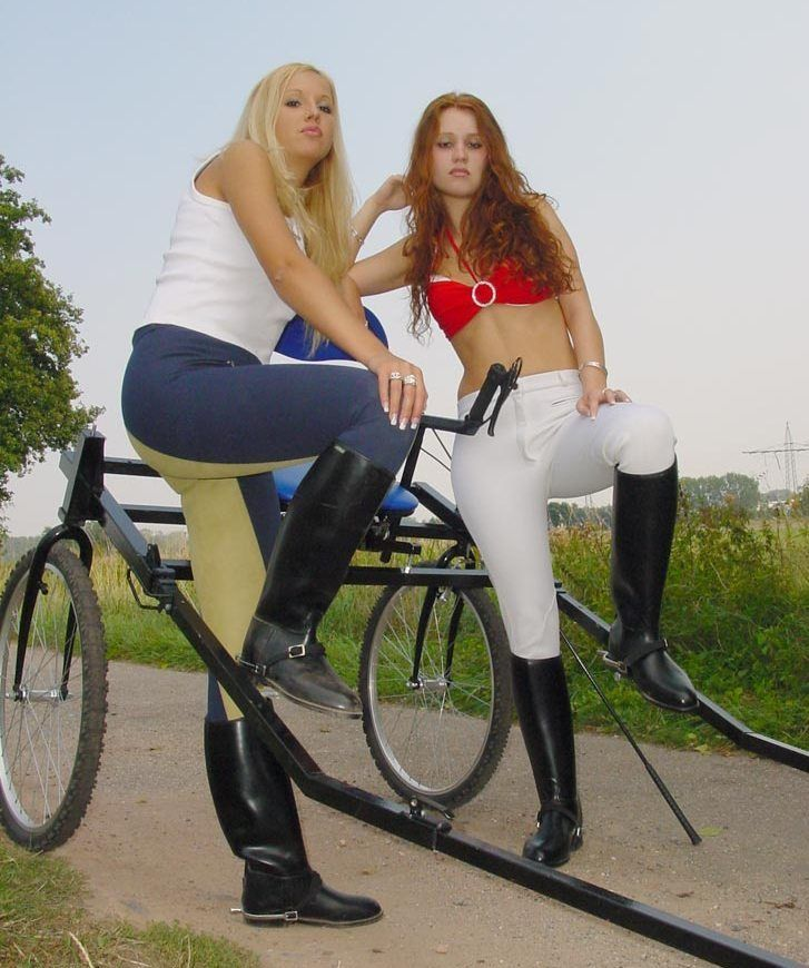 Two strict riding mistresses burn and whip their slave 4