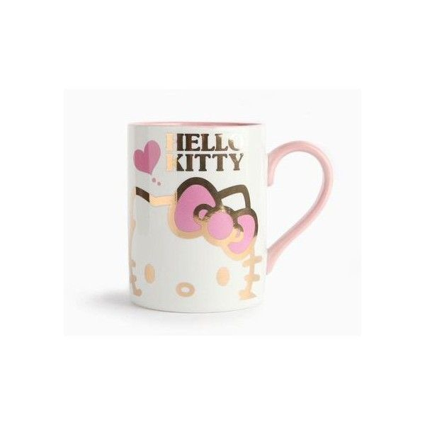 Hello Kitty 9oz Ceramic Mug Pink Gold ❤ liked on Polyvore featuring home, kitchen & dining, drinkware, rose gold mug, hello kitty mug, pink mug, ceramic mugs and hello kitty
