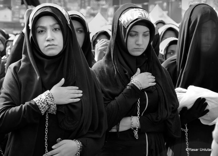 Shia Muslim women mourn during Ashura - Istanbul, Turkey - October 11, 2016: Shia Muslim women mourn during Ashura. Turkish Shia Muslims mourning for Imam Hussain. Caferis take part in a mourning procession marking the day of Ashura in Istanbul's Kucukcekmece district, Turkey on October 11, 2016. The battle of Karbala, where Ali son Hussein and his relatives and supporters were killed on the 10th day of Muharrem in 682 (year 61 in the Islamic calendar) by the forces of Yezid, son of the…