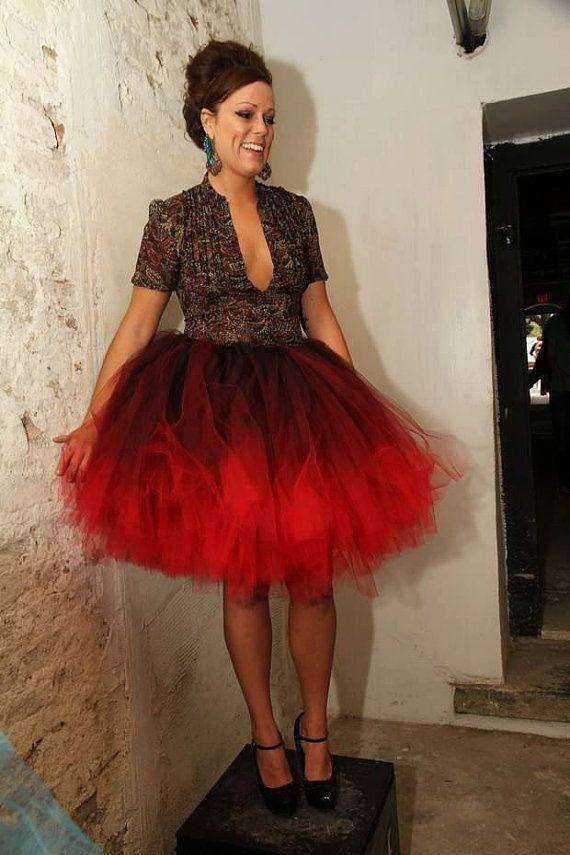 dyed ombre tutu skirt burgundy black plus
