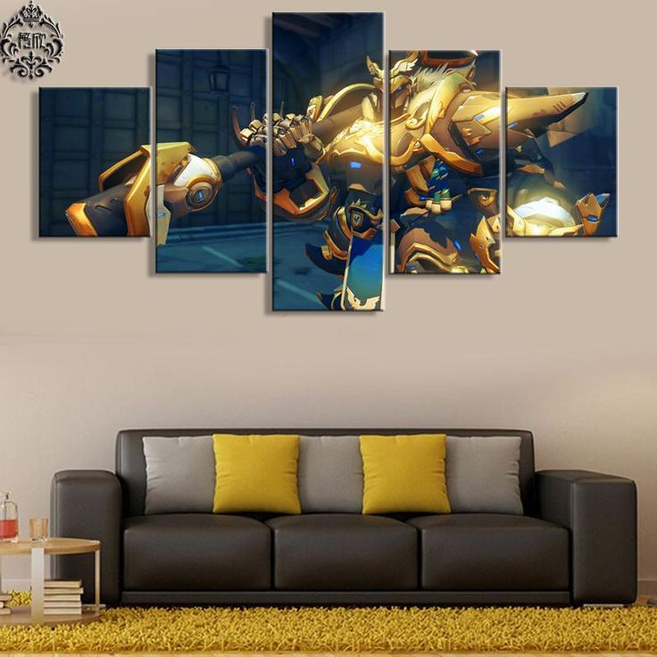 Overwatch reinhardt 5 piece canvas painting living room artworkmodern wall