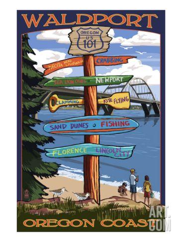 Waldport, Oregon - Sign Destinations Art Print at Art.com