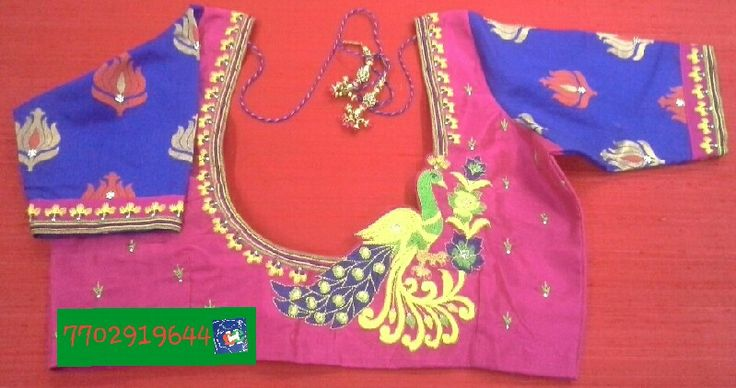 Pattu blouse with computer embroidery and banaras elbow length hands 7702919644