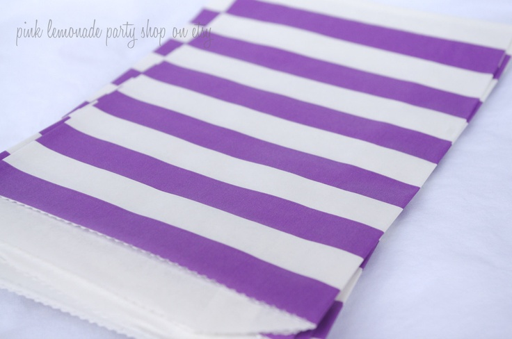 MeDiUM SiZe STRiPeD PaPER BAGs-- Purple --party favors--gifts---weddings--showers--20ct. $6.00, via Etsy.
