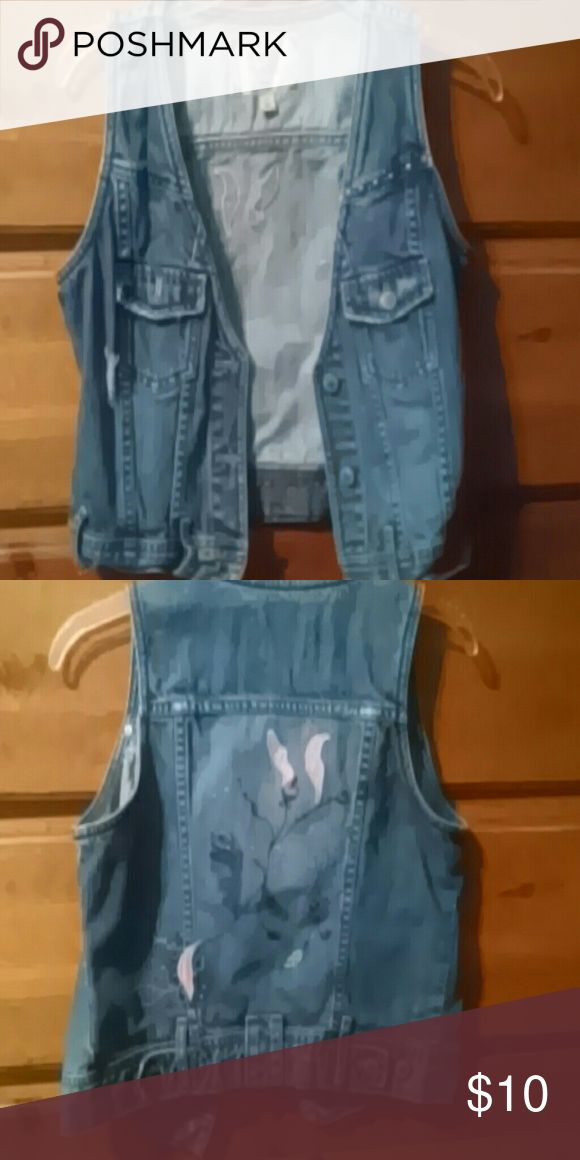 Sleeveless denim jacket Retro feel, denim with embroidery, sewn-on decals, paint Jackets & Coats Vests