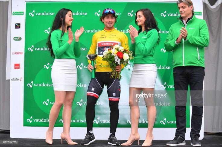 #TDR2017 71st Tour de Romandie 2017 / Prologue Podium / Fabio FELLINE (ITA) Yellow leaders jersey / Miss Hostess/ Celebration / Aigle - Aigle (4,8Km) / Individual Time Trial / ITT/