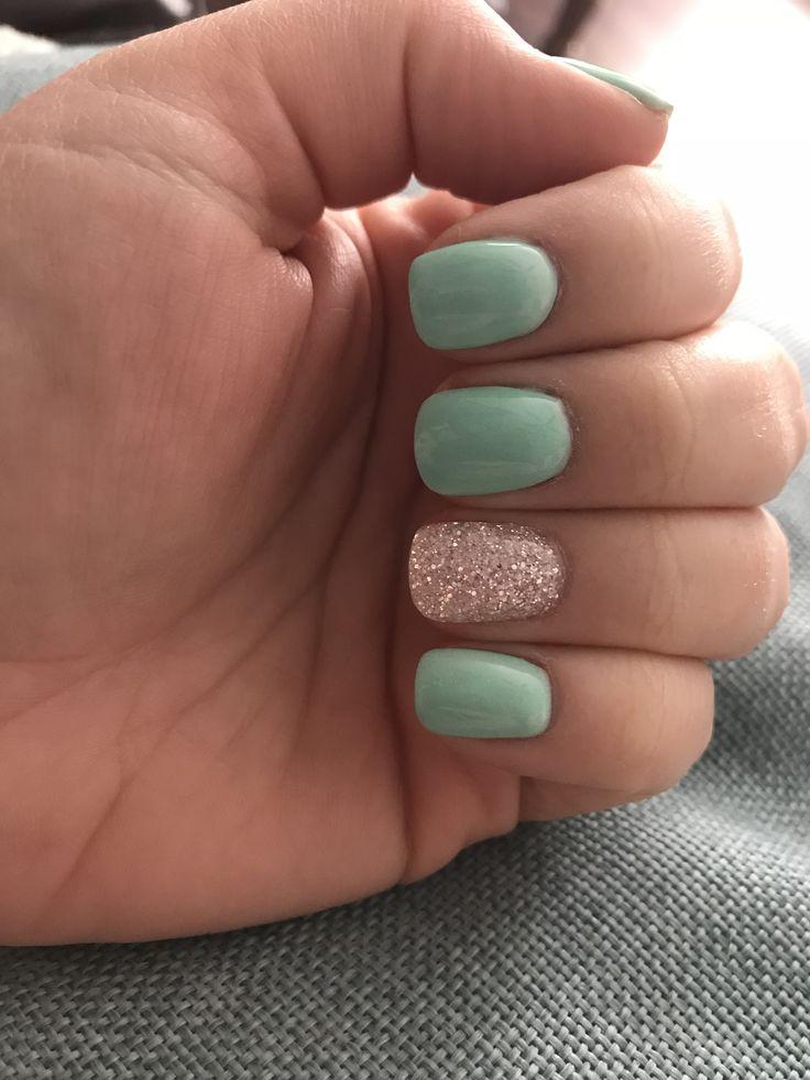 Mint nails dipped nails glitter