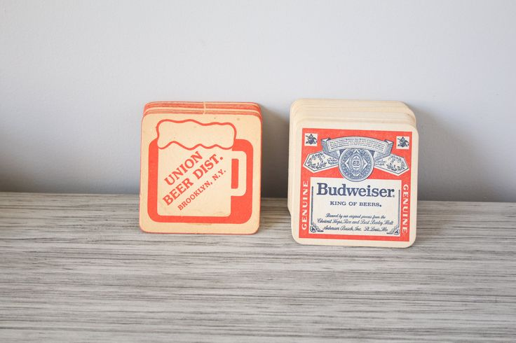 Vintage Set of 29 Paper Beer Coasters Union Beer Distributors Brooklyn NY & Budweiser Proud To Be Your Bud Great Man Cave Bar Advertising by BrooklynBornFinds on Etsy
