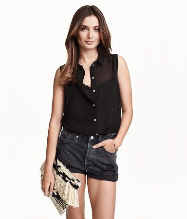 (4 Colors) H&M Sleeveless Chiffon Blouse