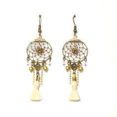 Boucles d 39 oreille attrape r ve bronze pompon cru bijoux - Attrape reve pompon ...