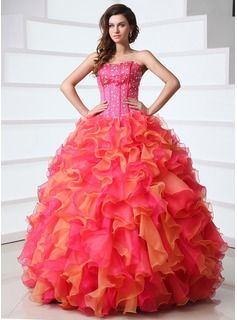 A-Line/Princess Sweetheart Floor-Length Organza Satin Quinceanera Dresses With Ruffle Beading (021017362)