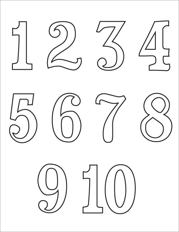 Numbers 1 10 Clipart Black And White  2