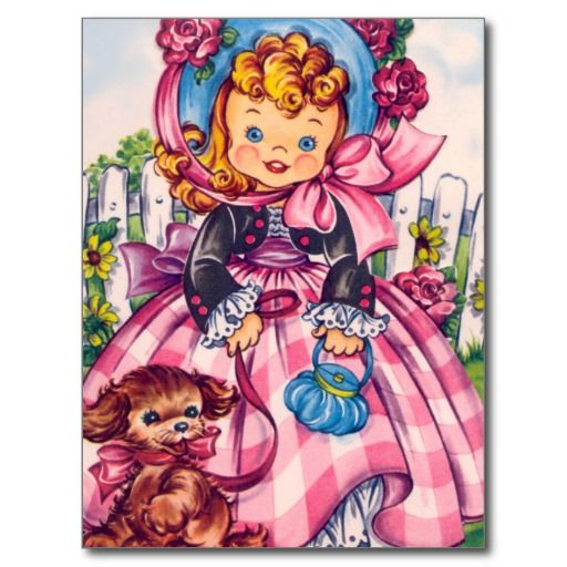 Vintage kunstwerk. Helder gekleurd. Meisje met blonde lokken die groot pet met lint en lange roze plaidkleding dragen. Zij houdt haar huisdierenhond op een leiband