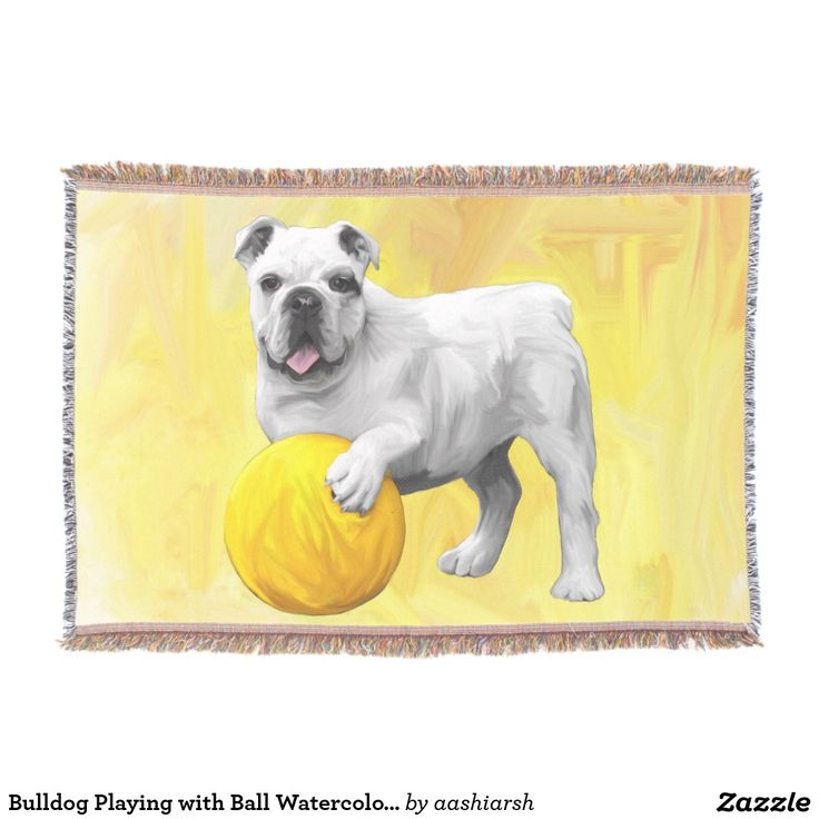 #Bulldog #Playing with #Ball #Watercolor #Art #Painting #Throw #Blanket #dog #animal #pet