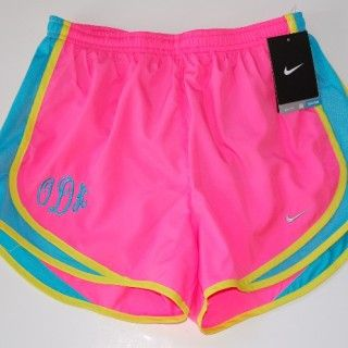 monogramed: Nike Shorts, Monograms Nort, Monograms Nike, Neon Colors, Nike Running, Monograms Shorts, Pink Nike, Bright Colors, Running Shorts